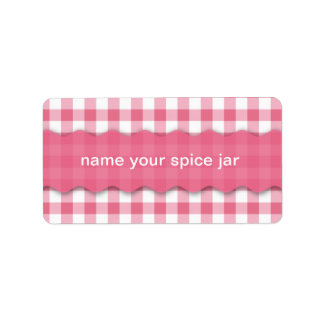 Pink Checkered Design Kitchen Label