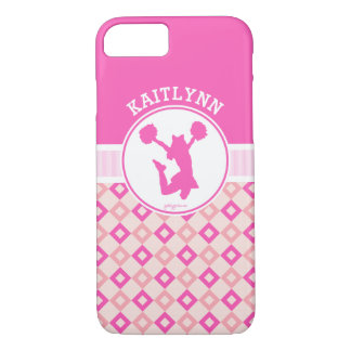 Pink Checkered Diamonds Cheer or Pom w/ Monogram iPhone 7 Case