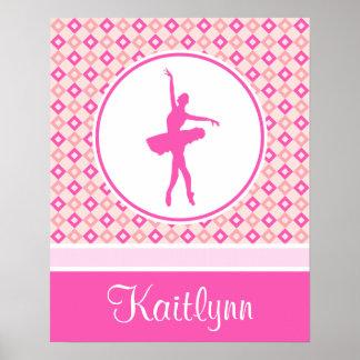 Pink Checkered Diamonds Dance with Monogram Poster