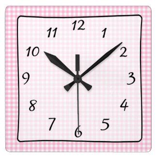 Pink Checkered Gingham Baby's Nursery Clock