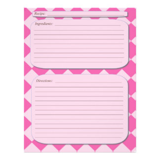 Pink checkered recipe page