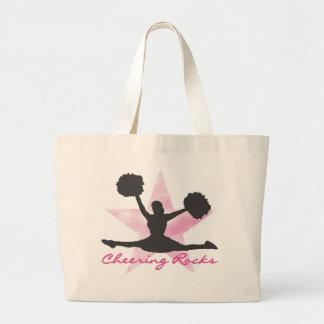 Pink Cheering Rocks T-shirts and Gifts Large Tote Bag
