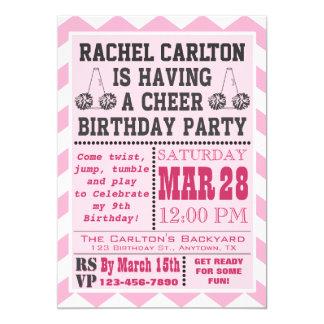 Pink Cheerleading Birthday Party Invitation