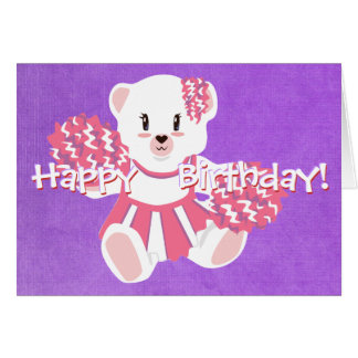 Pink Cheerleading Teddy Bear Card