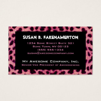 Pink Cheetah Animal Print Business Card