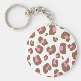 Pink Cheetah Basic Round Button Keychain