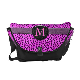 Pink Cheetah Monogram Animal Print Commuter Bags