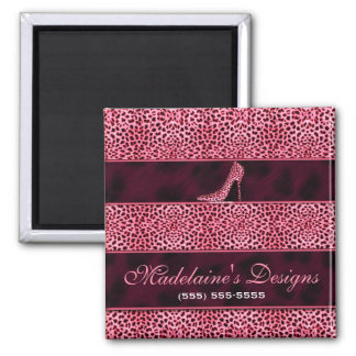 Pink Cheetah Print Business Magnet