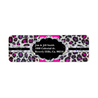 Pink Cheetah Print Diamond Monogram