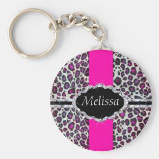 Pink Cheetah Print Diamond Monogram Keychain