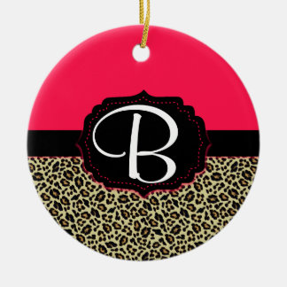 Pink & Cheetah Print Monogram Ornament