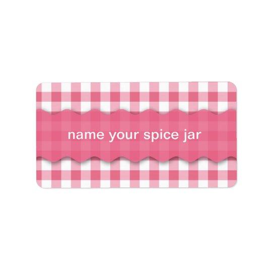 Pink Chequered Design Kitchen Label