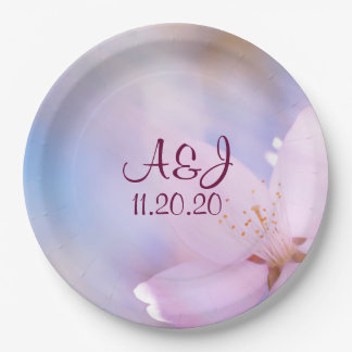 Pink cherry blossom 9 inch paper plate