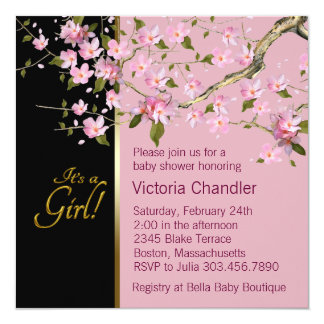 Pink Cherry Blossom Baby Shower Card