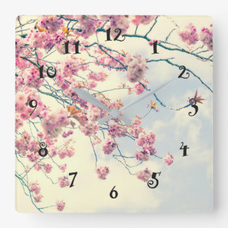 Pink cherry blossom, beautiful wall clock