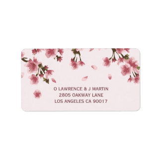 Pink Cherry Blossom Floral Label