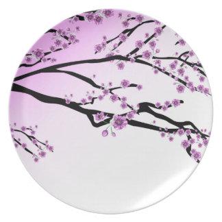 Pink Cherry Blossom Flowers Dinner Plates