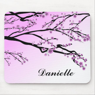 Pink Cherry Blossom Flowers Mouse Pad
