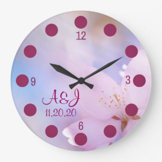 Pink cherry blossom large clock