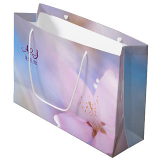 Pink cherry blossom large gift bag