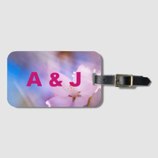 Pink cherry blossom luggage tag