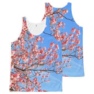 Pink cherry blossom on blue, print all over All-Over-Print tank top