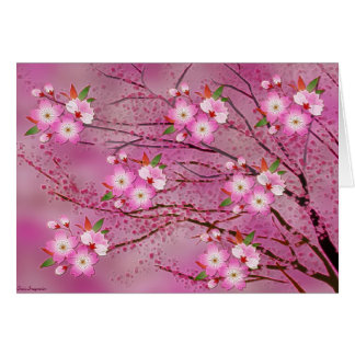 Pink Cherry Blossom Origami Art Card
