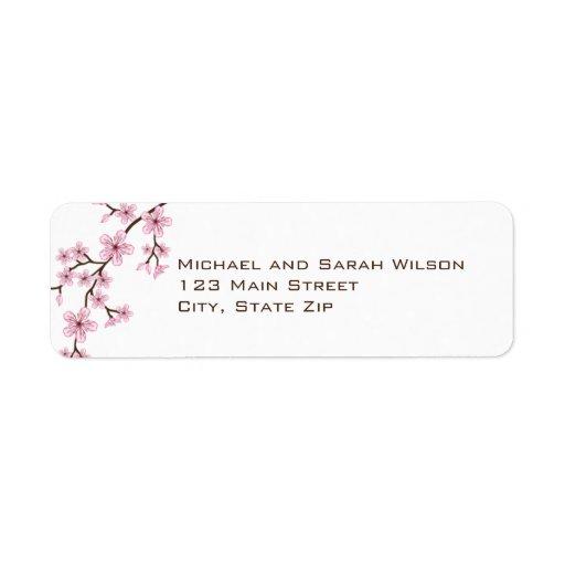 Pink Cherry Blossom Return Address Labels