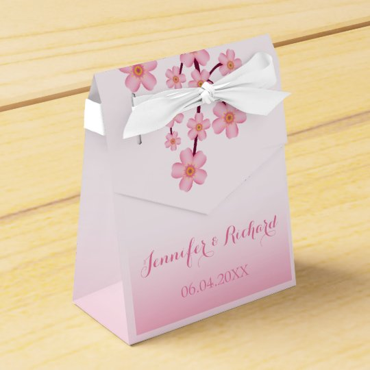 Pink Cherry Blossom Sakura Branch Wedding Favor Box