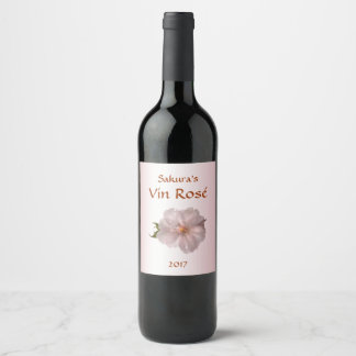 Pink Cherry Blossom Sakura Flower Wine Label