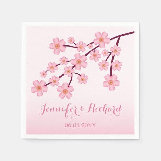 Pink Cherry Blossom Sakura With Names Wedding Disposable Napkin