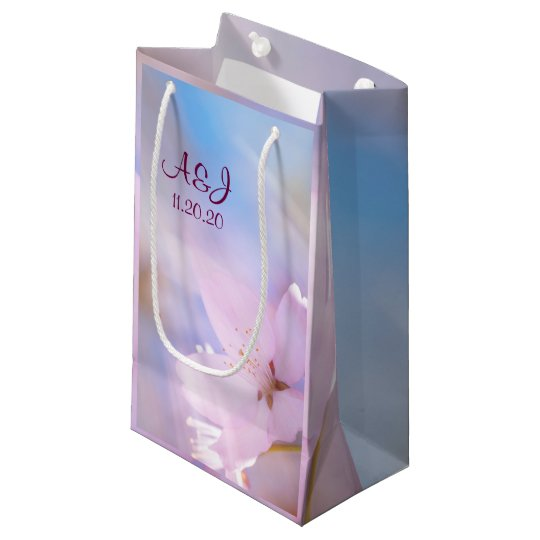 Pink cherry blossom small gift bag