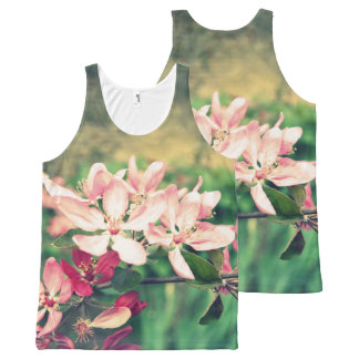 Pink cherry blossom, Spring, print all over All-Over-Print Tank Top