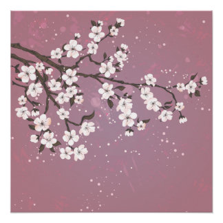 Pink cherry blossom tree perfect poster