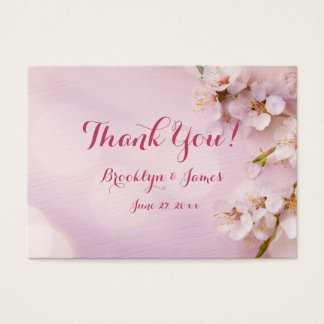 Pink Cherry Blossom Wedding Favor Tags Business Card