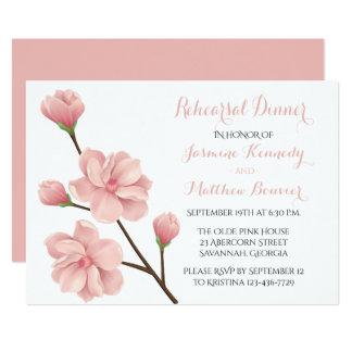 Pink Cherry Blossom Wedding Rehearsal Dinner Card