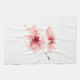 Pink cherry blossom white kitchen towel sakura