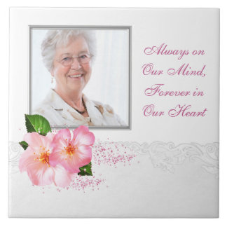 Pink Cherry Blossom Womans Photo Memorial Tile