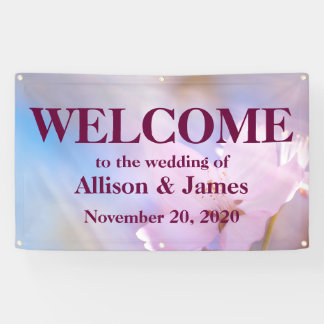 Pink cherry blossoms banner