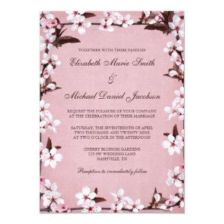 Pink Cherry Blossoms Border Wedding Card