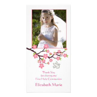 Pink Cherry Blossoms Dove Religious Photo Card