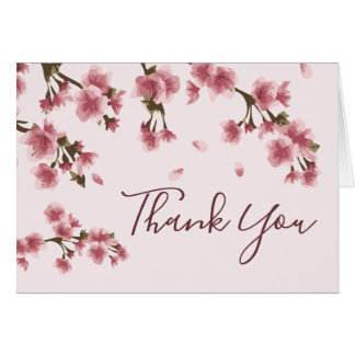 Pink Cherry Blossoms Floral Thank You Card