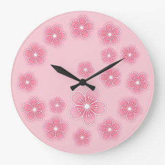 Pink Cherry Blossoms Large Clock