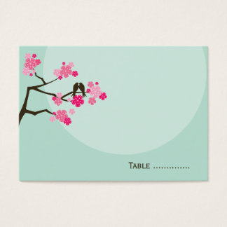 Pink Cherry Blossoms Love Bird Wedding Place Card