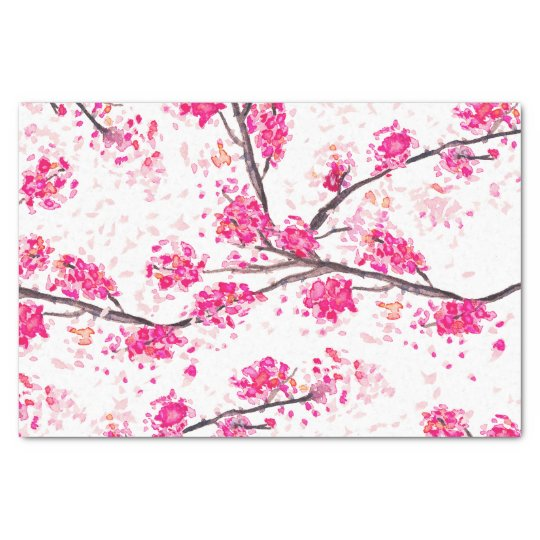 Pink cherry blossoms Oriental Sakura watercolor Tissue Paper
