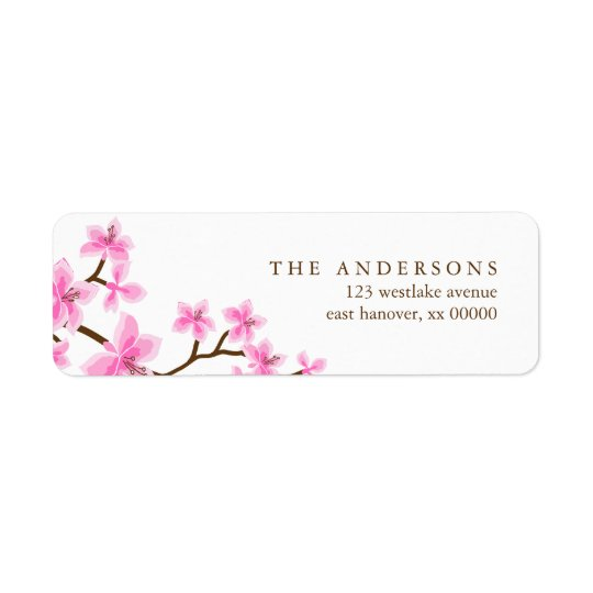 Pink Cherry Blossoms Return Address Label