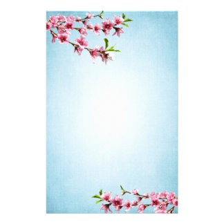 Pink Cherry Blossoms Vintage Blue Stationery