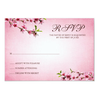 "Pink Cherry Blossoms Vintage Response Card 3.5"" X 5"" Invitation Card"