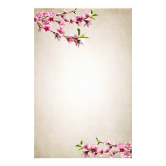 Pink Cherry Blossoms Vintage Tan Stationery Paper