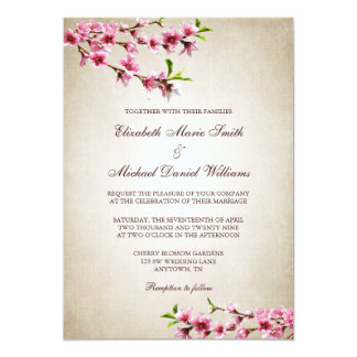 "Pink Cherry Blossoms Vintage Tan Wedding 5"" X 7"" Invitation Card"